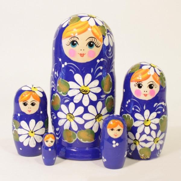 """Matryoshka """"Kamille blau"""" 5tlg - 14cm, Chochloma"""